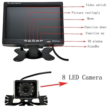 Eco Friendly Car Reverse Camera With LCD Monitor  7 Inch Dashboard Placement
