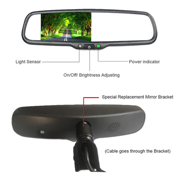 "4.3"" TFT LCD Car Backup Camera Mirror , Reverse Camera Mirror Kit WSVGA 1024 Resolution"
