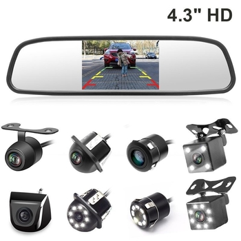4.3 Inch LCD Car Rear View Mirror Monitor / Backup Camera